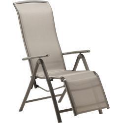 Relaxsessel Vigo mit verstellbarer Rückenlehne und Fußstütze Textilen Grau