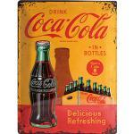 Retro Blechschild Coca-Cola In Bottles Yellow Maße: 30x40cm