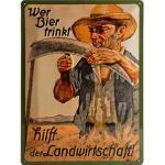"""Retro Blechschild """"Wer Bier trinkt..."""" Maße: 30x40cm"""