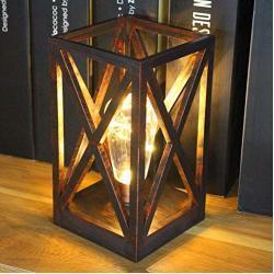 Retro-Stil Quadratischer Käfig Tischlampe Schnurloses Laternen-Nachtlicht mit Batteriebetriebenen Glühbirnen für den Innen- und Außenbereich (RoseGold)