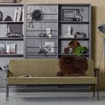 Retrostil Couch in Olivgrün Webstoff 185 cm breit