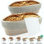riijk Backform »Gärkorb inkl. Gratis Teigschaber«, Gärkorb 2er Set + Teigschaber, 2 Gärkörbe für Brot und Brotteig - Peddigrohr (oval