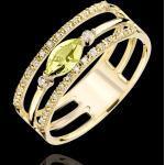 Ring Auge des Orients - Großes Modell - Peridot und Diamanten - 9 Karat