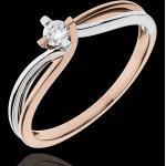 Ring das Kostbarer Kokon - Klarheit - Weiß-und Roségold - Diamant 0.