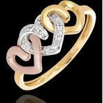 Ring Drei Herzen in Gelb-, Rosé- und Weißgold