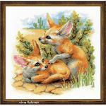 Riolis Die Wüstenfüchse Kreuzstichpackung, Baumwolle, Mehrfarbig, 25 X 25 X 0,1 cm
