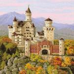 Riolis Schloss Neuschwanstein Kreuzstichpackung, Baumwolle, Mehrfarbig, 35 x 60 x 0,1 cm