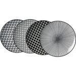 RitzenhoffundBreker Teller Takeo, Speiseteller, Porzellan, rund, Ø 26,5 cm, schwarz/weiß, 4 Stück