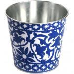 Rivanto® Portugiesischer Blumentopf aus Metall, Ø 7 x Höhe 12 cm, blau-weiß Design, Blumenschale, Pflanztopf