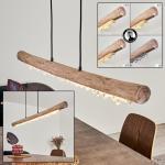 Rodeche Pendelleuchte LED Schwarz, Holz hell, 1-flammig - Vintage/Skandinavisch - Innenbereich - versandfertig innerhalb von 2-4 Werktagen