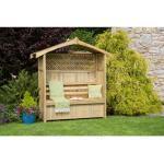 Rosenbogen Millville mit Bank aus Holz