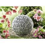 Rosenkugel aus frostfestem Steinguss Grau