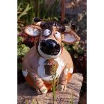 Rostalgie Keramik Gartenkugel Kuh ROSI mit Glocke Gartendekoration Tierfigur Handarbeit