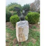 Rottenecker Bronze-Skulptur Drache mit Findling