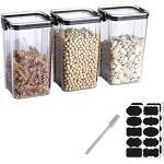 Rummyluck BPA frei 3er-Set Kunststoff Vorratsdosen Luftdicht Frischhaltedosen für Müsli Schüttdose Getreide/Mehl/Zucker/Trockenfrüchte, 18.5 10.2CM, 1300ML