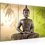 Runa Art Buddha Bild Wandbilder Wohnzimmer XXL Beige Feng Shui 120 x 80 cm 3 Teilig Wanddeko 500331c