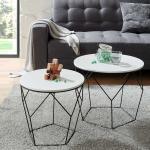 Rundes Sofatisch Set in Schwarz und Weiß Skandi Design (2-teilig)
