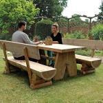 Rustika Holzbank ohne Lehne 180 cm Lärche naturbelassen