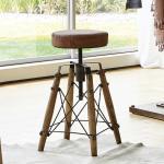 Rustikaler Sitzhocker mit rundem Ledersitz in Braun Gewindedrehung
