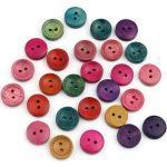 Sadingo Clown Knöpfe (15mm, 50 Stück) Knopf Mix bunt zum annähen, Holzknopf Set, Dekoknöpfe, Nähknöpfe Zweiloch