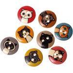 Sadingo Holzknöpfe Katzen zum annähen, Kinderknöpfe Holz, Bastelknöpfe, Dekoknoopf, 10 Stück, 15mm, Zufälliger Mix