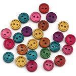 Sadingo Holzknöpfe Mix (10mm, 50 Stück) sehr kleine Knöpfe zum basteln, Deko Knopf Set, Kinderknöpfe zum annähen