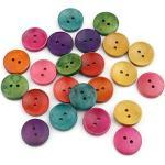 Sadingo Knöpfe 20mm 50 Stück, Clowns Knöpfe, Holz Knöpfe bunt gemischt, Dekoknöpfe, Wooden Buttons Scrapbooking
