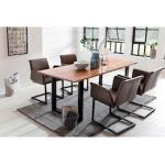 SalesFever Essgruppe, (Set, 5 tlg.), bestehend aus 4 modernen Freischwinger Stühlen und einem Baumkantentisch 160 cm braun Essgruppe Essgruppen Tische