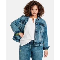 Blaue Gerry Weber Samoon Jeansjacken für Damen Übergrößen Große Größen