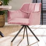 Samt Stühle in Rosa drehbar (2er Set)