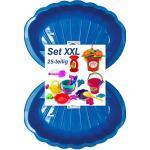 Sandbox Sandkasten Sandmuschel Muschel Wasser Planschbecken groß 108x79cm XL, 5 Farben (2xblau+25-TLG.Set)