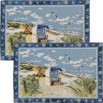 Sander Gobelin Tischset Beach Chair im 2er-Pack blau/braun-beige 32x48 cm
