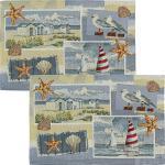 Sander Gobelin Tischset Beach House im 2er-Pack blau/rot 32x48 cm