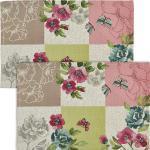 Sander Gobelin Tischset Romance Patch 2er-Pack rose/gruen 32x48 cm