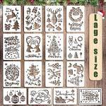 Schablonen Weihnachten, 16 Stück Zeichenschablonen Malschablonen aus Kunststoff, Sschablonen Weihnachten wiederverwendbar, DIY Geschenkkarten, Geschenke Weihnachten Kinder