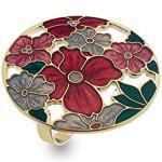 Schal Ring, Emaille, Blumenmuster, goldfarben