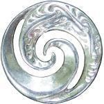 Schal-Ring Maori Koru Spirale. Hand gegossen von William Sturt aus Deutsch Zinn.