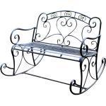 Schaukel Bank Stuhl schwarz Terrassen Garten Park Sitz Möbel Metall Breite 110 cm Harms 504664