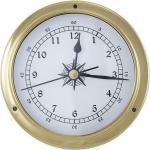 Schiffsuhr, Bootsuhr, Maritime Einbau-Uhr im poliertem Messing Gehäuse, Ø 12 cm