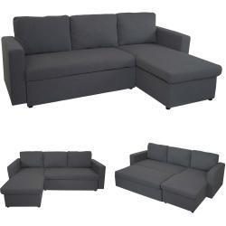 Schlafsofa MCW-D92, Couch Ecksofa Sofa, Schlaffunktion 220x152cm Stoff/Textil ' dunkelgrau, ohne Deko-Kissen