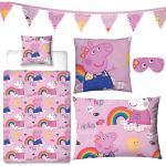Schlafwelt-Set Peppa Pig, 5-tlg, rosa - Wende-Bettwäsche, Schlafmaske, Kuschelkissen, Girlande