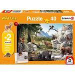 Schleich: Die Tiere des Waldes 40 Teile - Kinderpuzzle. Mit 2 Schleich-Figuren