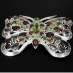 Schmetterling - Silber Brosche - facettierte Granat + Peridot + Amethyst