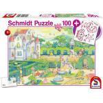 Schmidt Spiele Bei den Märchenprinzessinnen, 100 Teile, mit add on (Glitzersticker)