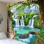 schöne hölzerne Leiter Wasserfall Landschaft Tapisserie hängen Stoff Hintergrund Stoff dekorative Stoff hängen Stoff Lightinthebox