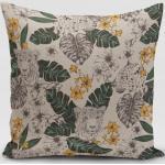 SCHÖNER LEBEN. Kissenhülle » Kissenhülle Blätter Leopard Dschungel natur grün gelb verschiedene Größen«, handmade