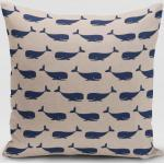 SCHÖNER LEBEN. Kissenhülle » Kissenhülle Leinenlook Maritim Walfische natur blau verschiedene Größen«, handmade