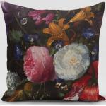 SCHÖNER LEBEN. Kissenhülle » Kissenhülle Samt Blumen Tulpen Pfingstrosen dunkelgrün bunt verschiedene Größen«, handmade