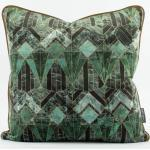 SCHÖNER LEBEN. Kissenhülle » Samtkissen mit Kederumrandung und Federfüllung Diamond Marmor petrol grün 50x50cm«