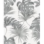 SCHÖNER WOHNEN-Kollektion Vliestapete »Leaves«, 0,53 x 10,05 Meter, weiß, weiß-grau